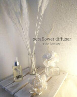 トレンドのソイフラワー 天然素材のオフホワイトの優しい質感と色味のお花が癒しの空間を演出してくれます。 ソラシートからつくるソラフラワーレッスン2021年3月よりはじまります